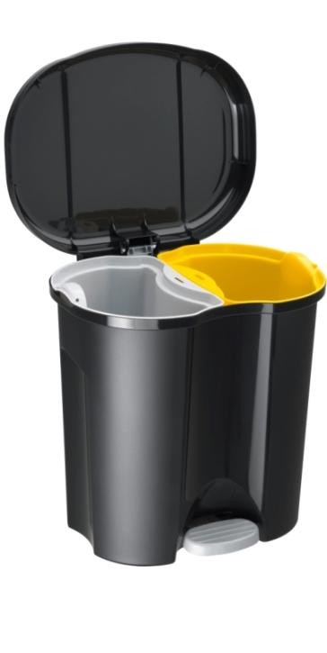 """Abfalleimer aus Polypropylen """"DUO"""", 10+10 Liter, schwarz, 39 x 32 x H 40,5 cm"""