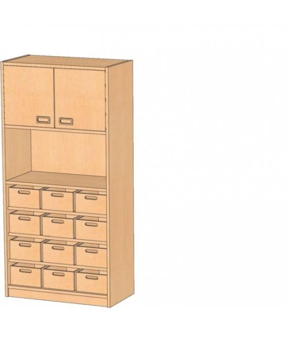 Korpusschrank mit Materialkästen mit oder ohne Sichtfenster, B/H/T 78 x 160 x 40 cm