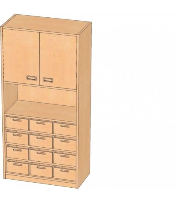 Korpusschrank mit Materialkästen mit oder ohne Sichtfenster, B/H/T 78 x 180 x 40 cm