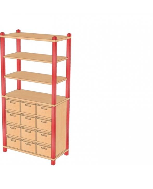Stollenschrank mit Massivholzkästen, B/H/T 82 x 160 x 40 cm