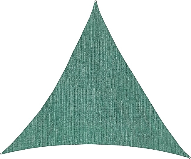 Abverkauf: Sonnensegel, HDPE (= wind- u. wasserdurchlässig), Dreieck 5x5x5 m, DUNKELGRÜN