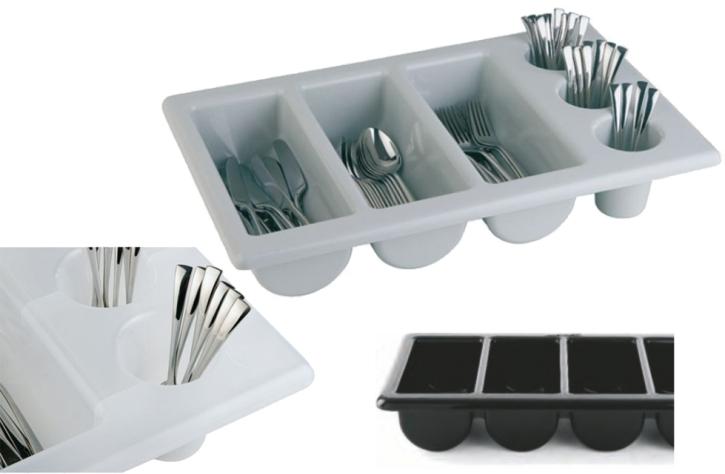 Besteckkasten mit 6 Mulden, Kunststoff, 53 x 32,5 cm (=GN 1/1), Höhe 10 cm (Farbe wählen)