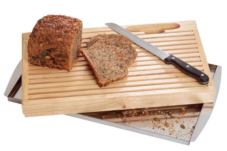 Brot-Schneidebrett mit Krümelschale, inkl. Messer