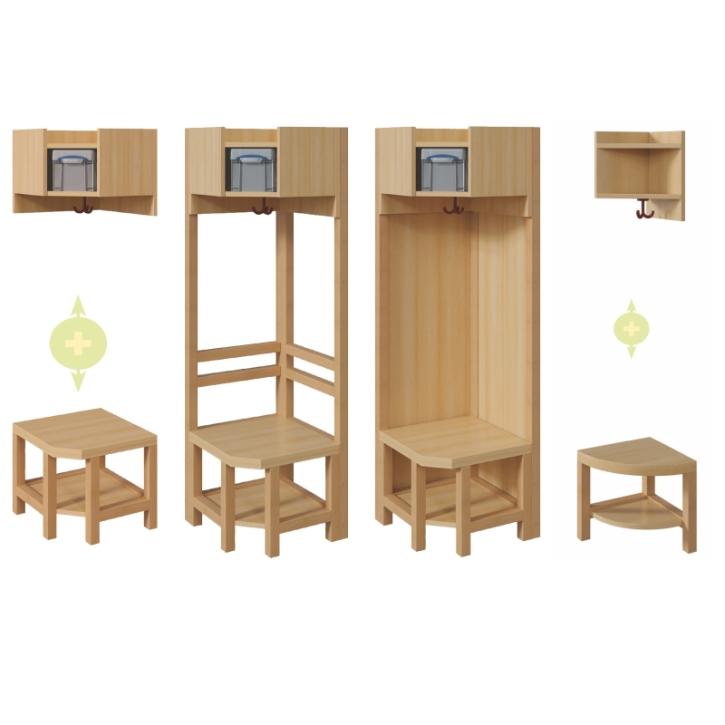 Eckelemente für Komplettgarderoben mit einfacher Mützenablage mit Box