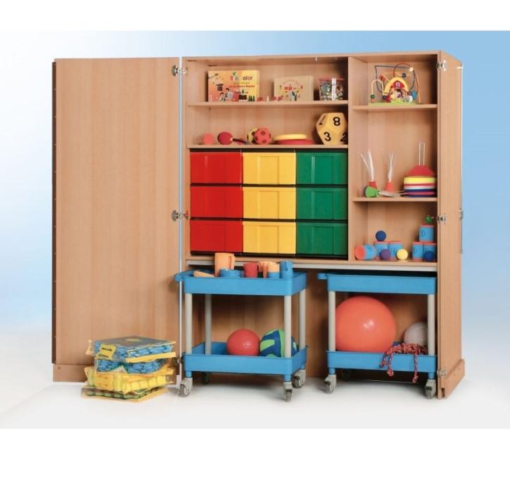 Garagenschrank mit 9 InBoxen und 2 Clever-Cart, B/H/T 150 x 190 x 60 cm
