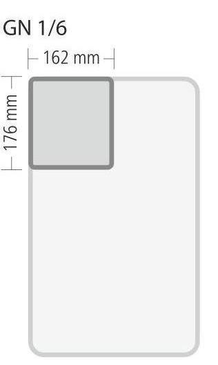"""Gastronorm """"Serie 70"""" - Größe 1/6 GN (= 176×162 mm), Behälter Höhe 150 mm, 2,40 Liter"""
