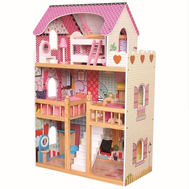 Puppenhaus möbliert aus Holz, 17-teilig, B/H/T 60x90x30 cm