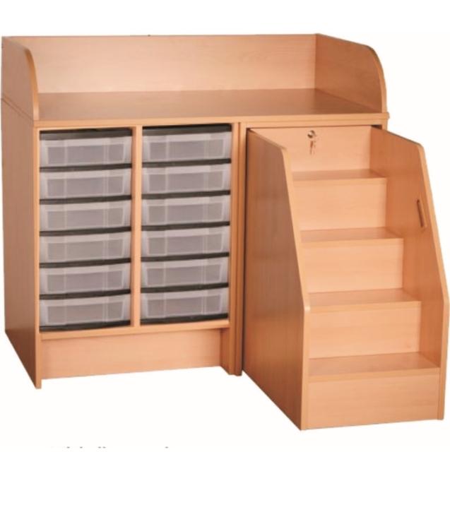 Wickelkommode mit ausziehbarer Treppe, mit 12 flachen Kunststoffschüben, Breite 116 cm (Ausführung wählen)