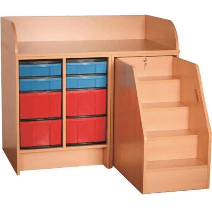 Wickelkommode mit ausziehbarer Treppe, mit 4 hohen + 4 flachen Kunststoffschüben, Breite 116 cm (Ausführung wählen)
