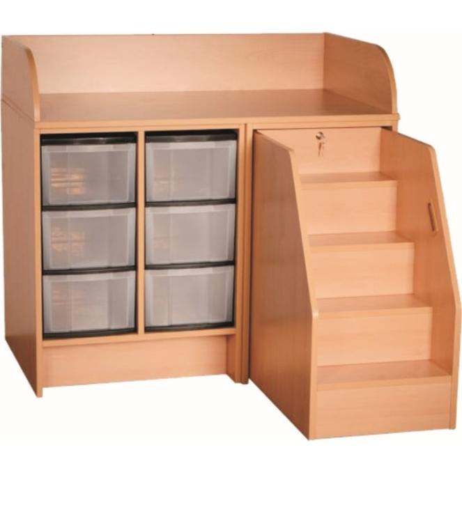 Wickelkommode mit ausziehbarer Treppe, mit 6 hohen Kunststoffschüben, Breite 116 cm (Ausführung wählen)