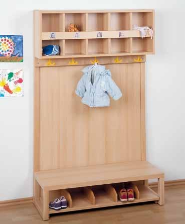 Komplett-Garderobe mit Rückwand und 2-reihiger Mützenablage (Ausführung wählen)
