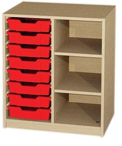 Unterschrank 2-reihig mit 8 Kunststoffschüben, B/H/T: 70,2 x 80 x 50 cm