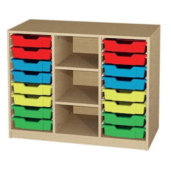 Unterschrank 3 reihig mit 16 Kunststoffschüben, B/H/T: 104,3 x 80 x 50 cm