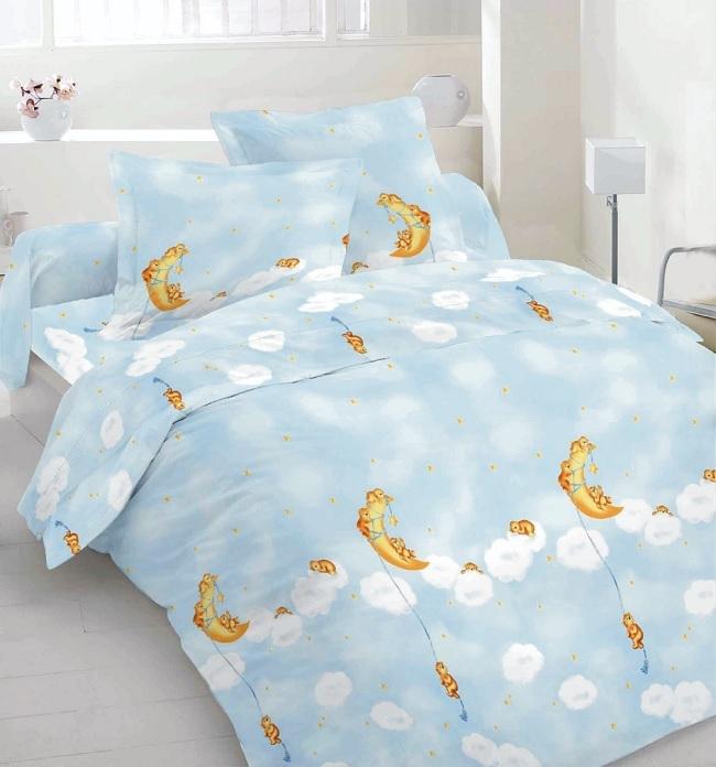 """Abverkauf: Bettwäsche """"Mondbär blau"""", 100 % Baumwolle"""