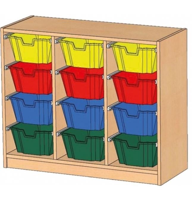 Regal mit Ergo Tray Boxen, B/H/T: 105 x 80 x 40 cm