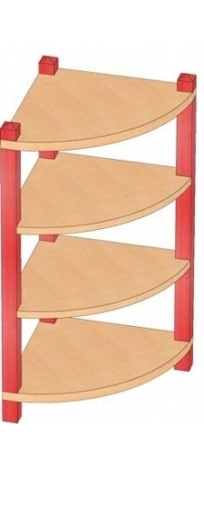 90° Eckregal mit nur 1 Einlegeboden, B/H/T: 40 x 80 x 40 cm