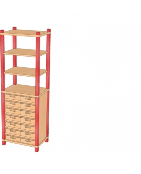 Stollenschrank mit Massivholzkästen, B/H/T 56 x 160 x 40 cm