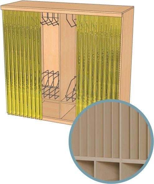 Geräumige Schränke, Kapazität 4-12 Polster, mit Vorhangeinrichtung, MIT Vorhang (Variante wählen!)