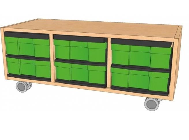Fahrbares Regal mit InBoxen, B/H/T 98,5 x 39 x 40 cm