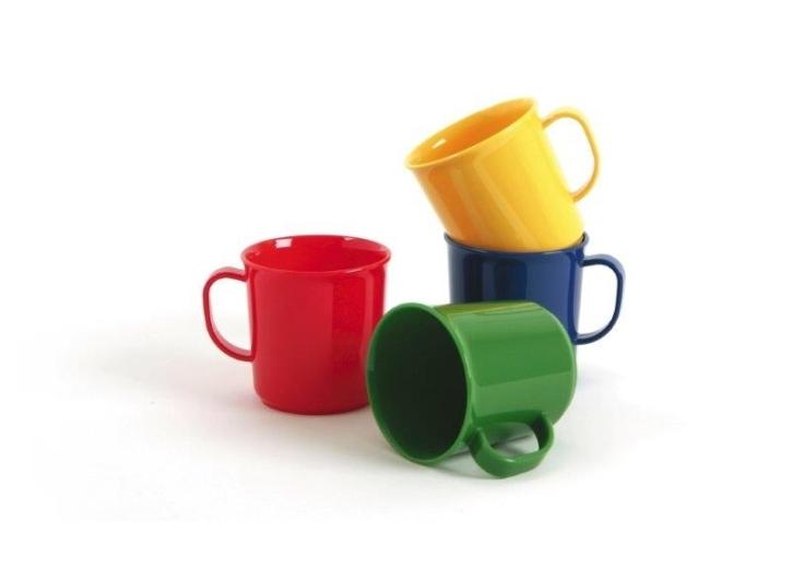 Kunststoffgeschirr aus POLYPROPYLEN - Henkelbecher 0,20 Liter (Farbe wählen)