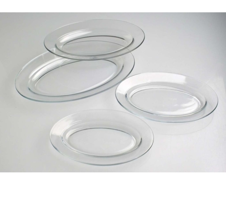 Glasgeschirr transparent - (8) Platte oval 310 x 200 x H 30 mm