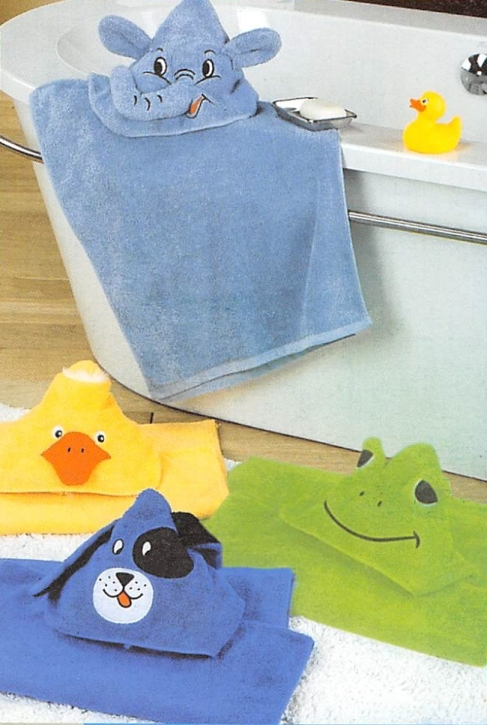Abverkauf: Frottier-Poncho für Kinder, mit Kapuze, Tiermortive (Farbe wählen)