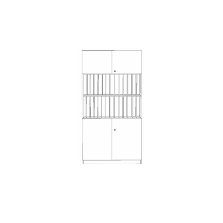 Klassenbuchschrank mit 28 Fächern, 4-türig, B/H/T 100x190x40 cm