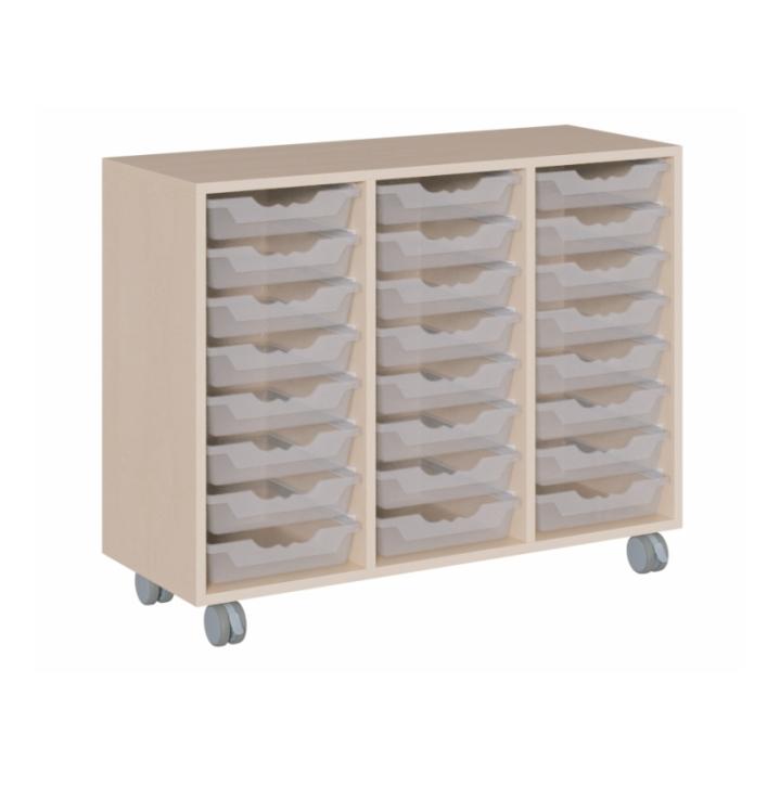Fahrbarer Schrank mit ErgoTray-Boxen, B/H/T 105x81x40 cm (Variante wählen)