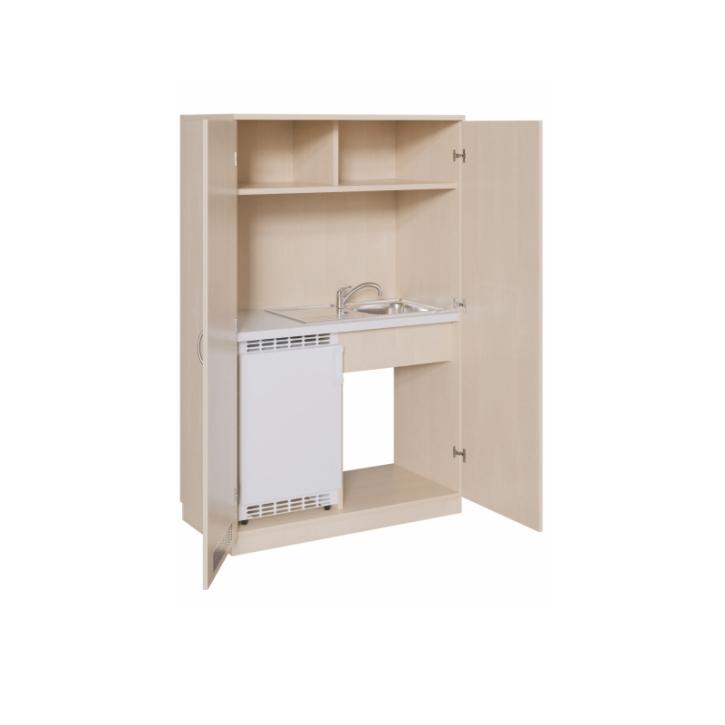 Schrankküche mit Spüle, Mischbatterien und unten Kühlschrankvorbereitung, B/H/T 120x190x6 cm