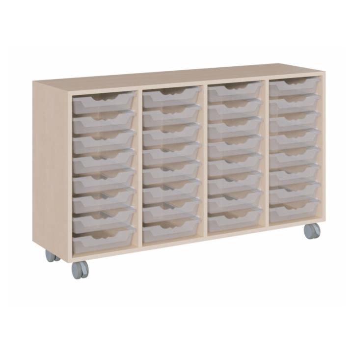 Fahrbarer Schrank mit ErgoTray-Boxen, B/H/T 139x81x40 cm (Variante wählen)