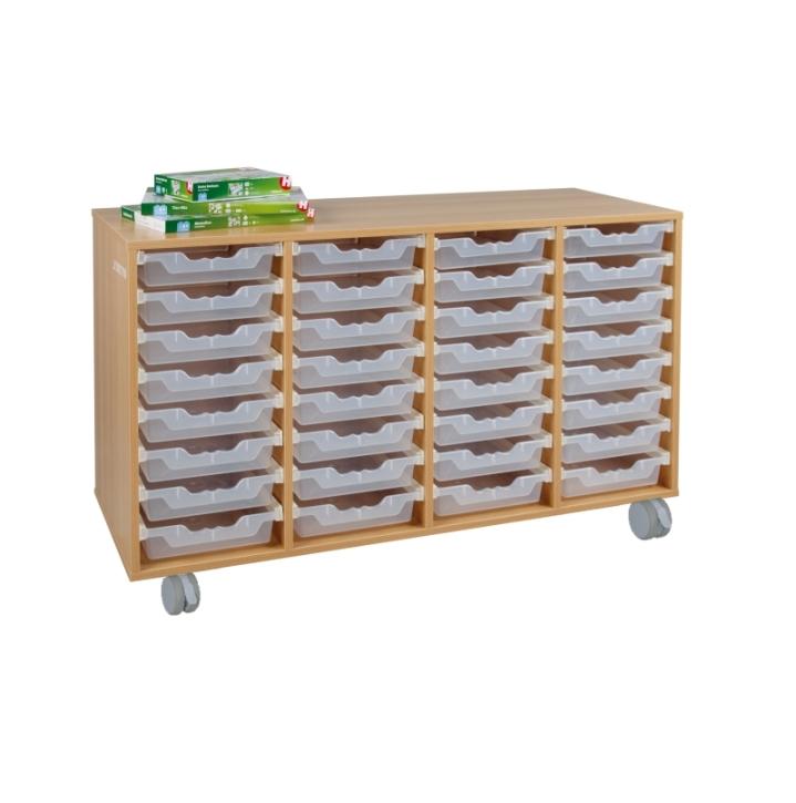 Fahrbarer Schrank mit ErgoTray-Boxen, B/H/T 139x117x40 cm (Variante wählen)