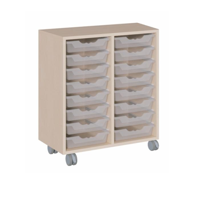 Fahrbarer Schrank mit ErgoTray-Boxen, B/H/T 70,5x81x40 cm (Variante wählen)