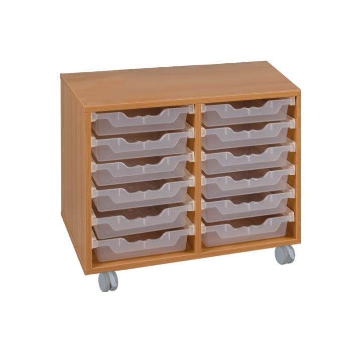 Fahrbarer Schrank mit ErgoTray-Boxen, B/H/T 70,5x117x40 cm (Variante wählen)
