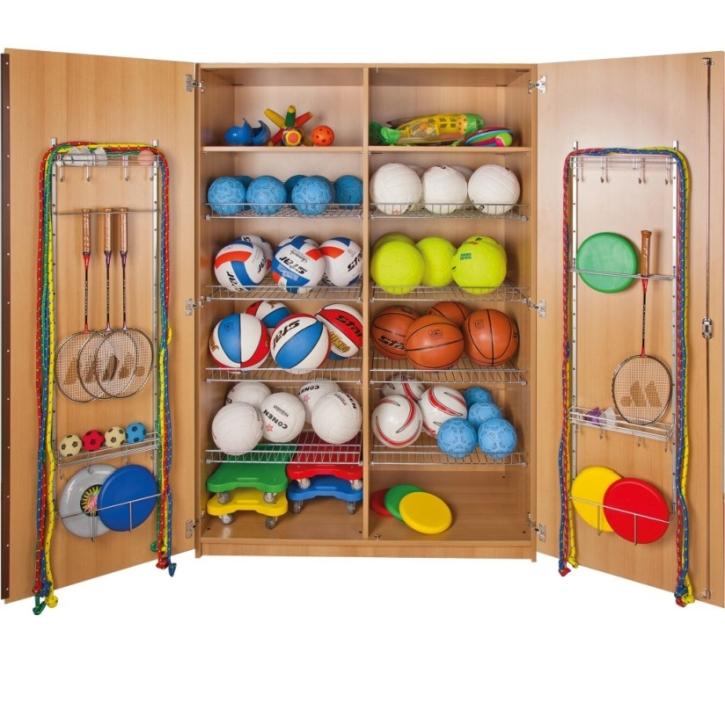 Sportschrank mit 8 Ballkörben, B/H/T: 129,6 x 190 x 60 cm