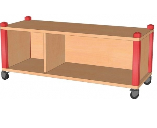 Fahrbares Stollenregal, B/H/T 102,5 x 40,5 x 40 cm