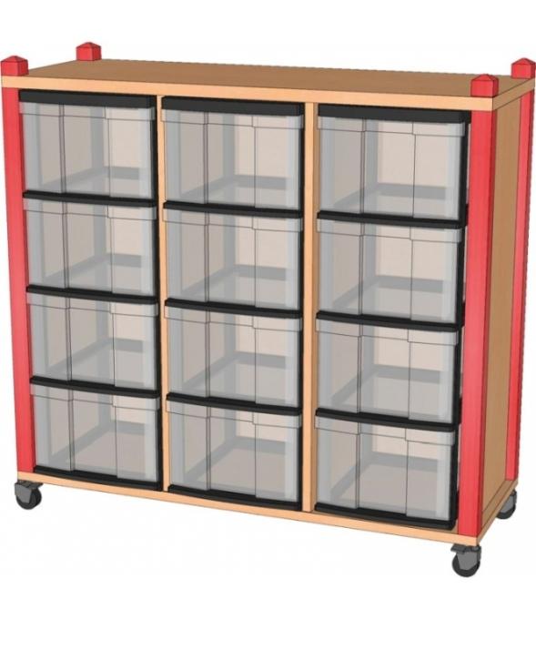 Fahrbares Stollenregal mit InBoxen, B/H/T 102,5 x 100 x 40 cm
