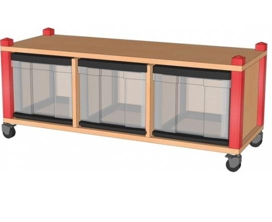 Fahrbares Stollenregal mit InBoxen, B/H/T 102,5 x 40,5 x 40 cm
