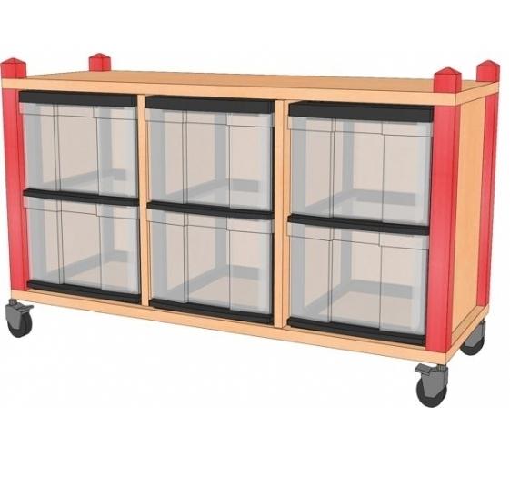 Fahrbares Stollenregal mit InBoxen, B/H/T 102,5 x 60 x 40 cm