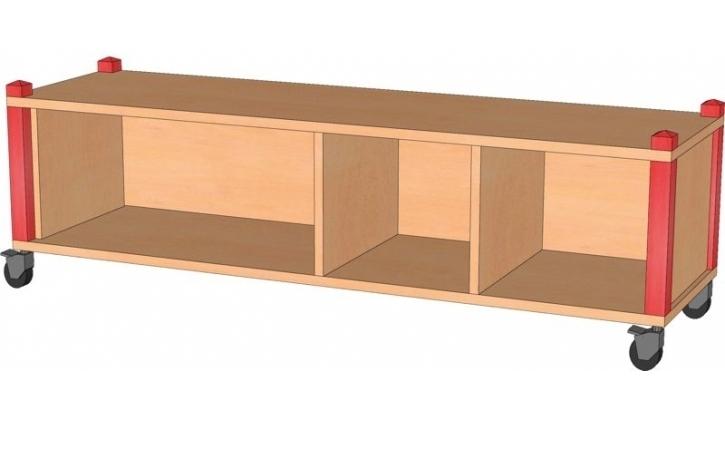 Fahrbares Stollenregal, B/H/T 134,5 x 40,5 x 40 cm