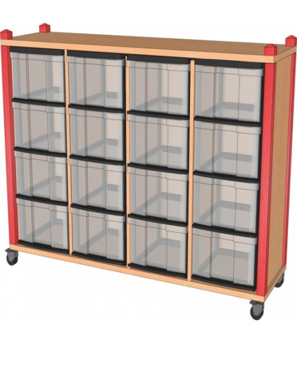 Fahrbares Stollenregal mit InBoxen, B/H/T 134,5 x 100 x 40 cm