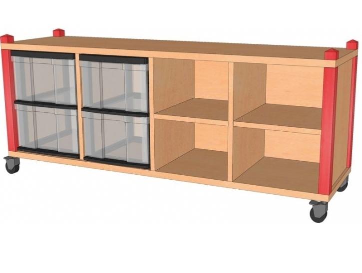 Fahrbares Stollenregal mit InBoxen, B/H/T 134,5 x 60 x 40 cm