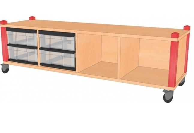 Fahrbares Stollenregal mit InBoxen, B/H/T 134,5 x 40,5 x 40 cm