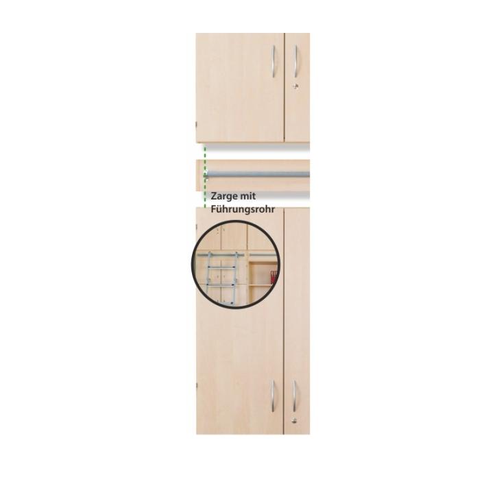 Zarge mit Führungsrohr zum Einhängen der Leiter, Höhe: 15 cm, auf Schränke mit 5 OH (Variante wählen)
