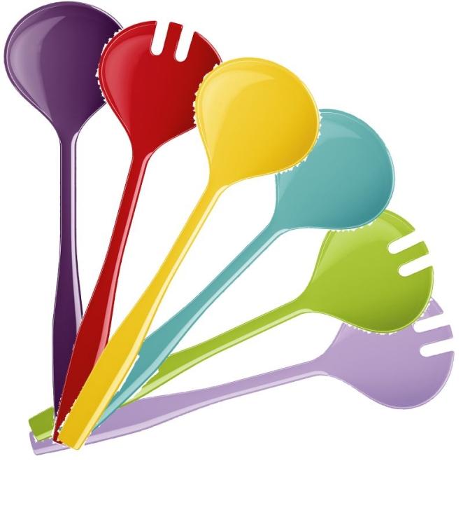 Abverkauf: Melamin-Salatbesteck 2-teilig, Länge 30 cm (Farbe wählen)