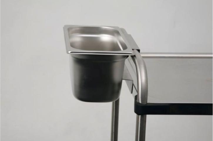 Abräumbehälter 4,9 Liter aus Edelstahl, zum Anhängen an Servierwagen