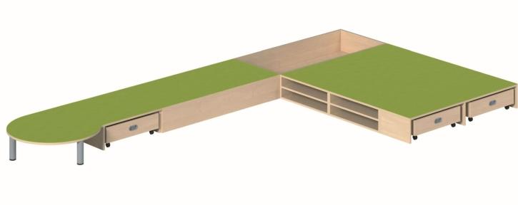 Podestanlage, B/H/T 450 x 24 x 250 cm