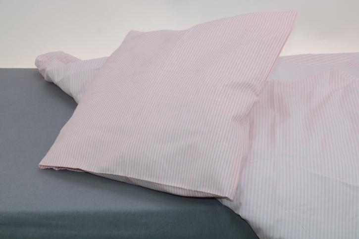 """Bettwäsche """"Streifen rosa"""", 100 % Baumwolle, Garnitur 40x60 + 100x135 cm, Knopfleiste"""