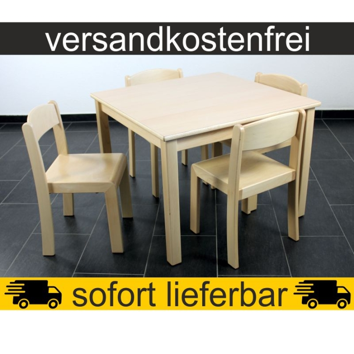 Sparset: 1 Stück Quadrattisch 80×80 cm Höhe 59 cm + 4 Stück Stapelstuhl ERIC Sitzhöhe 35 cm