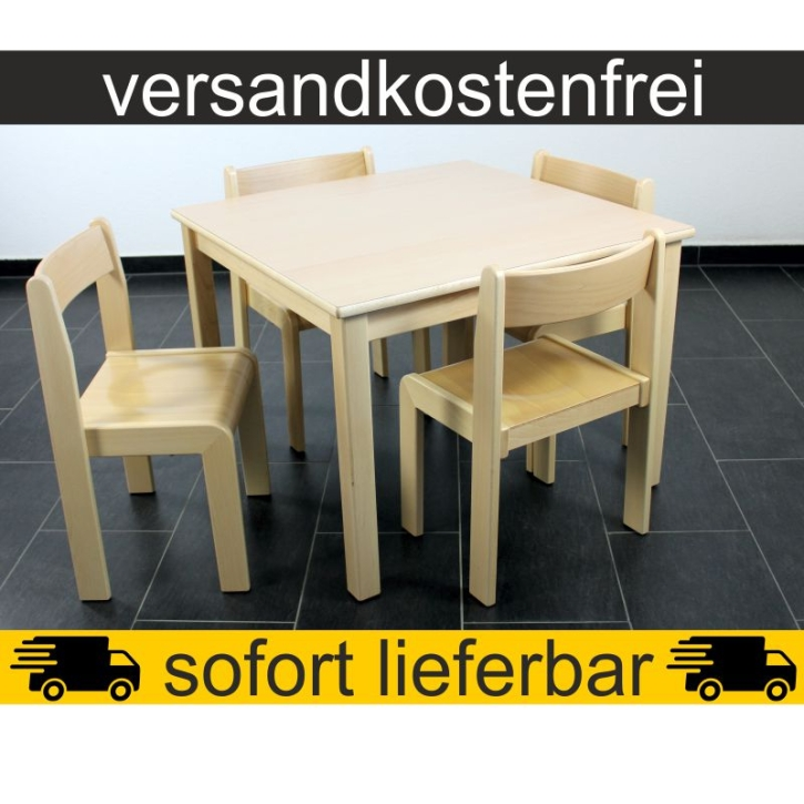 Sparset: 1 Stück Quadrattisch 80×80 cm Höhe 59 cm + 4 Stück Stapelstuhl TIM Sitzhöhe 35 cm