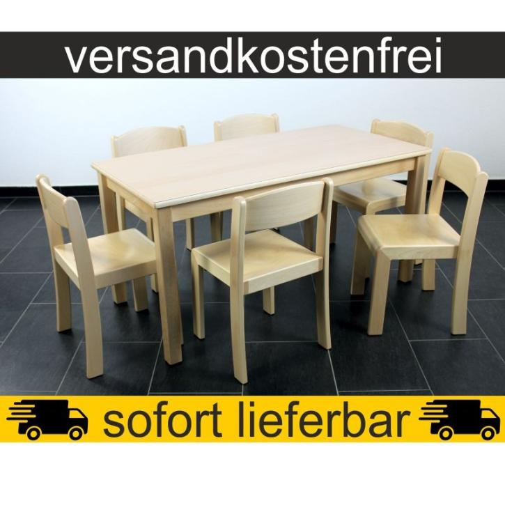 Sparset: 1 Stück Rechtecktisch 120×60 cm Höhe 59 cm + 6 Stück Stapelstuhl ERIC Sitzhöhe 35 cm